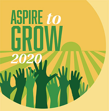 Logo for Aspire to Grow 2020 Conference with illustration of a sun rising over agricultural fields.