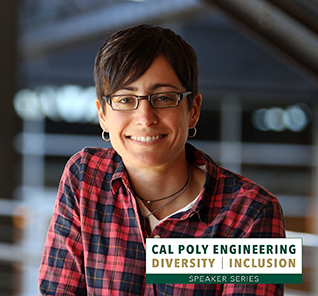 Photo of Danielle Feinberg, with text reading Cal Poly Engineering Diversity Inclusion Speaker Series