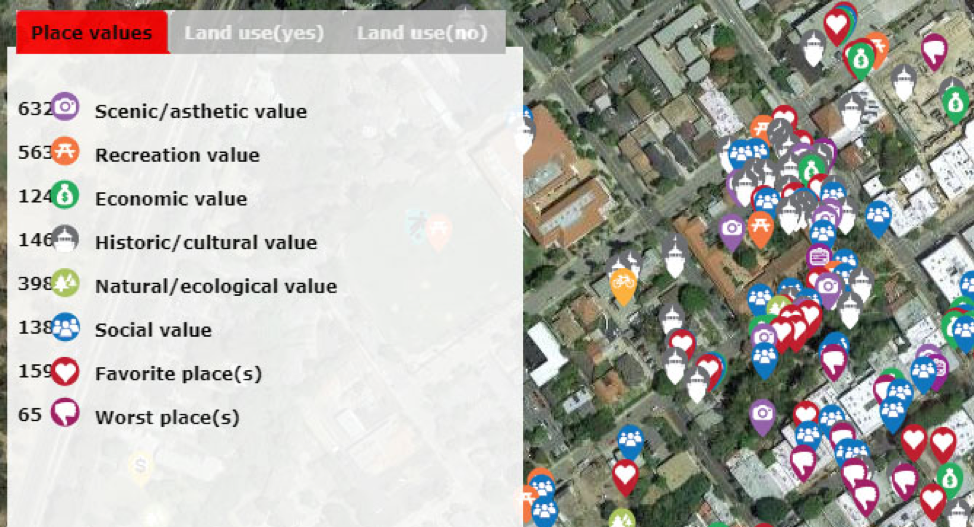Photo screenshot of the study, showing an aerial map of part of San Luis Obispo with various markers to indicate recreation value, economic value, cultural value and other items.