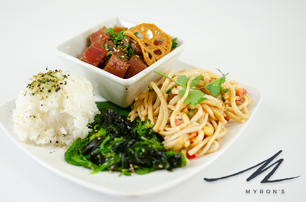 Photo of ahi tuna with rice, noodles and greens.