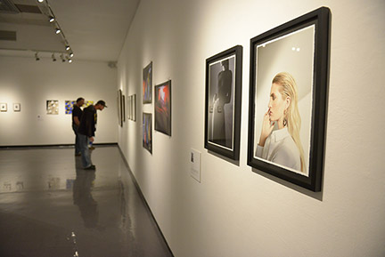 Photo of the Alumni Show inside University Art Gallery.