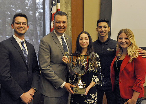 California Secretary of State Alex Padilla, second from left, with ASI President Jasmin Fashami, center, and other members of the ASI board of directors.