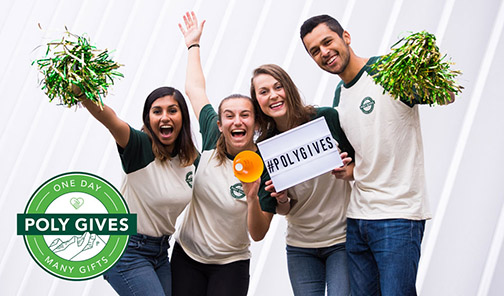 Cal Poly students pose to promote Poly Gives