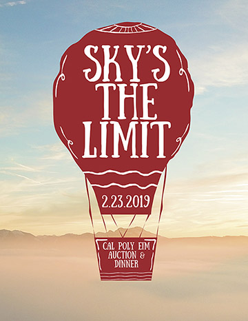 Graphic illustration for Experience Industry Management Department's 2019 Auction and Dinner with an illustration of a hot air balloon reading Sky's the Limit