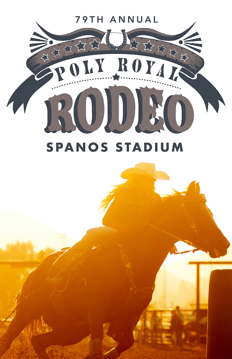 Banner copy for the 79th annual Poly Royal Rodeo in Spanos Stadium with a photo of a woman on horseback