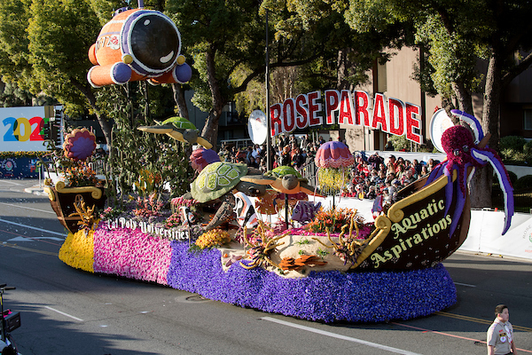 "The 2020 Cal Poly Rose Float, ""Aquatic Aspirations."" Photo from California State Polytechnic University, Pomona"