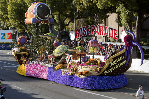 Cal Poly universities' float, Aquatic Aspirations, on the parade route during the 131st Rose Parade held New Year's Day.