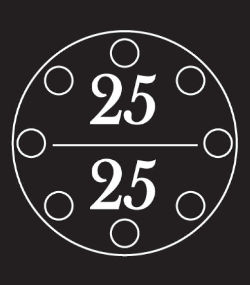 Black and white illustration showing a circle and numbers 25 under 25