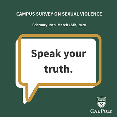 Graphic reading Campus Survey on Sexual Violence February 19-March 18, 2020. Speak your truth.