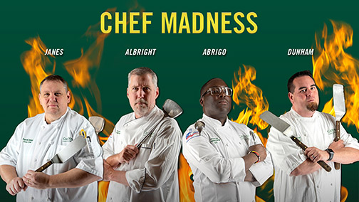 Photo of four Cal Poly Campus Dining chefs with their last names- Janes, Albright, Abrigo and Dunham and text reading Chef Madness.