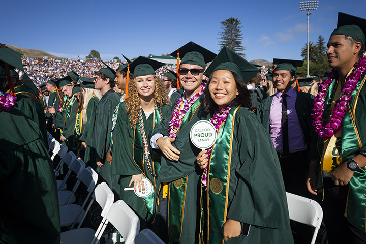 Students at a past spring Commencement ceremony.