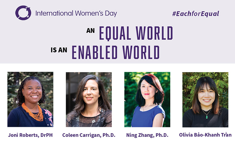 Graphic reading International Women's Day An Equal World is an Enabled World with photos of the four speakers.