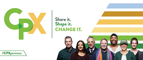Header graphic for CPX - Cal Poly Experience - initiative with text reading Share it. Shape it. Change it.