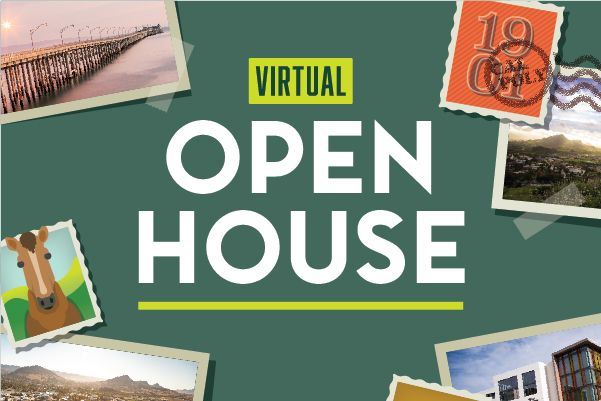 Graphic reading Virtual Open House with photos of Cal Poly campus, designed to look like a few postcards.