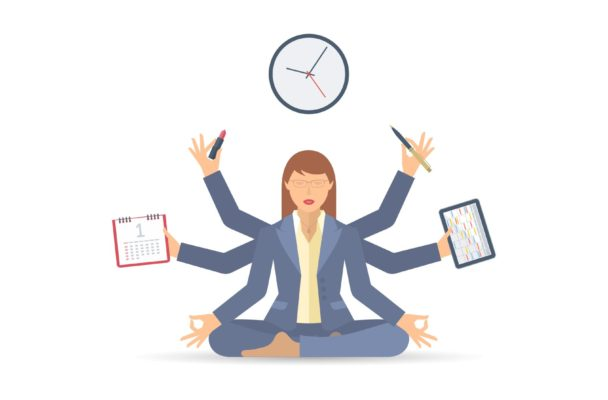 Illustration of a busy female practicing yoga.