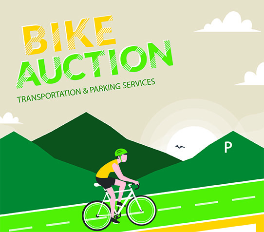Illustration of someone riding a bike with text Bike Auction, Transportation and Parking Services
