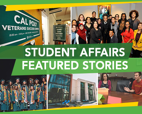 Graphic reading Student Affairs Featured Stories with photos of some of the people and programs featured