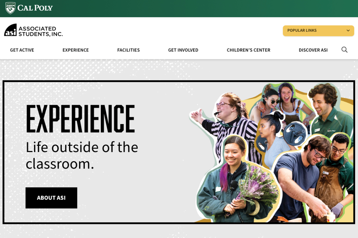 Screenshot of the ASI homepage.