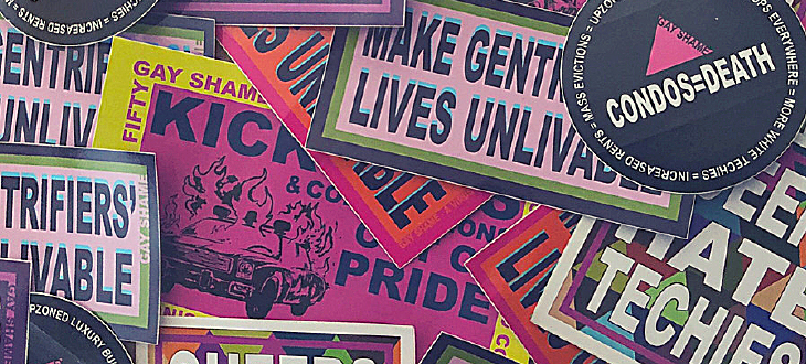 Photo of various images illustrating gentrification in the Bay Area and the name of Gay Shame, a queer direct action group based in San Francisco.