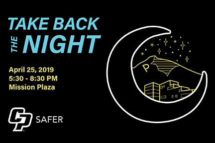 Graphic for SAFER event Take Back the Night on April 25 in Mission Plaza