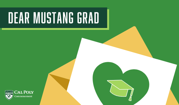 Illustration of a letter with text reading Dear Mustang Grad