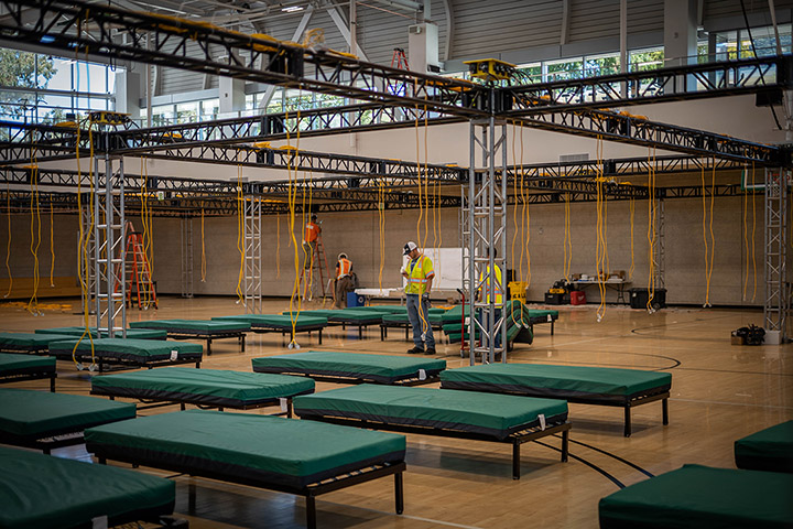 Photo of the Cal Poly Recreation Center as it is being turned into an alternate care site.