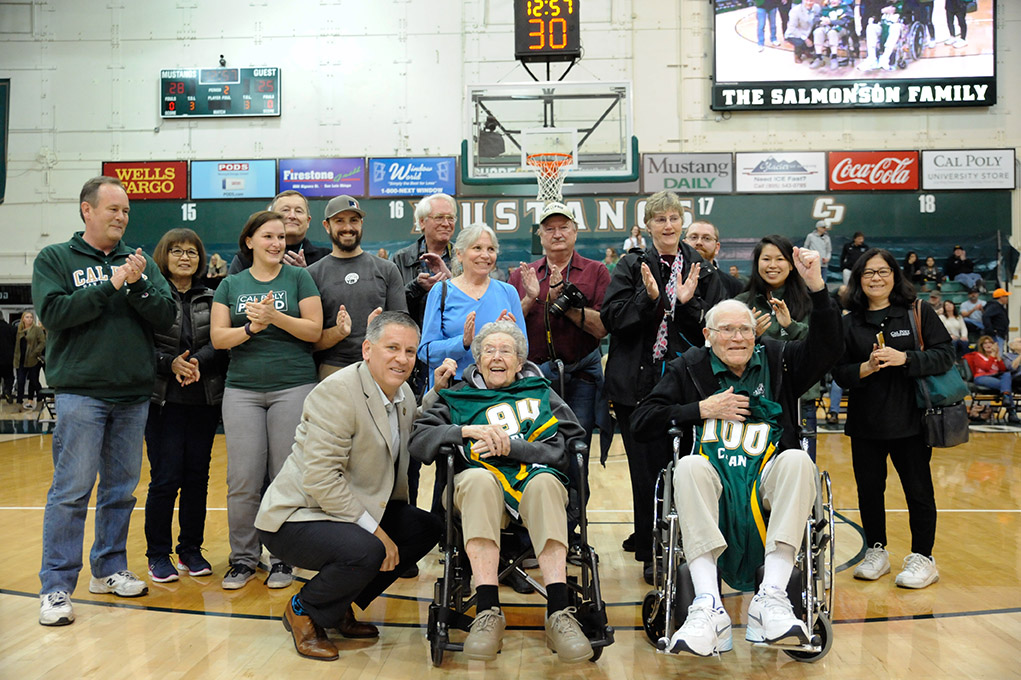 Everett Chandler and wife Arlene pictured in 2017 as Everett was honored on his 100th birthday during a Cal Poly men's basketball game.