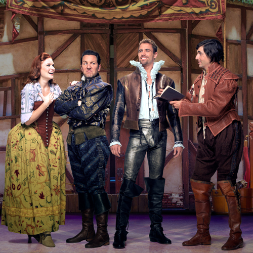 "Promotional photo of four actors in the Broadway musical, ""Something's Rotten!"""