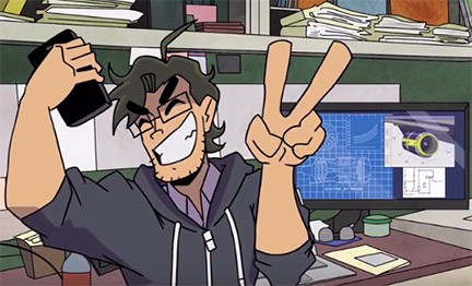 Illustration of a man with a phone in one hand and showing a peace sign in the other, with computers in the background