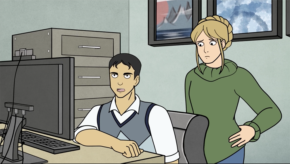 Illustration of two people in an office, one standing and one sitting and both looking at a computer.