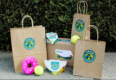 Photo of marketing materials created for local company Tails Pet Boutique.