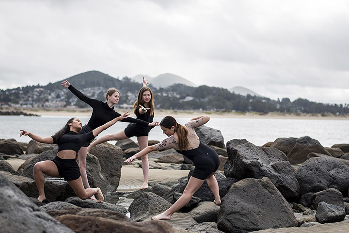 Photo of dancers to promote the virtual spring dance concert.