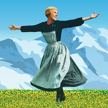 An illustration of Julie Andrews in an iconic scene from The Sound of Music