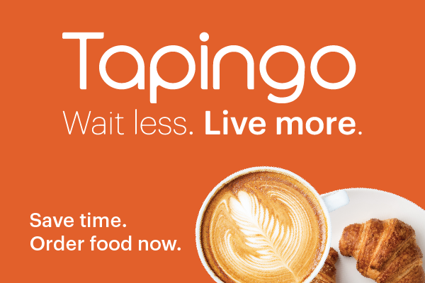 Logo and photo of coffee, with graphic reading Tapingo. Wait less. Live more.