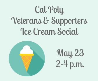 Illustration of an ice cream cone with text reading Cal Poly Veterans and Supporters Ice Cream Social