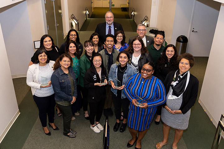 Cal Poly staff, faculty, students and President Armstrong gather for a photo after the 2019 President's Diversity Awards