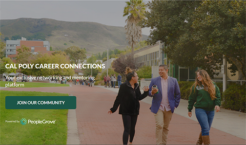 Photo of three people walking near Dexter Lawn with text reading Cal Poly Career Connections