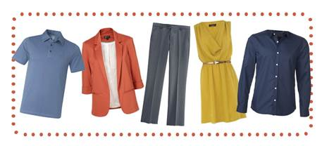 Photo of different articles of clothing including a shirt, blouse, work pants, dress and button-down shirt.
