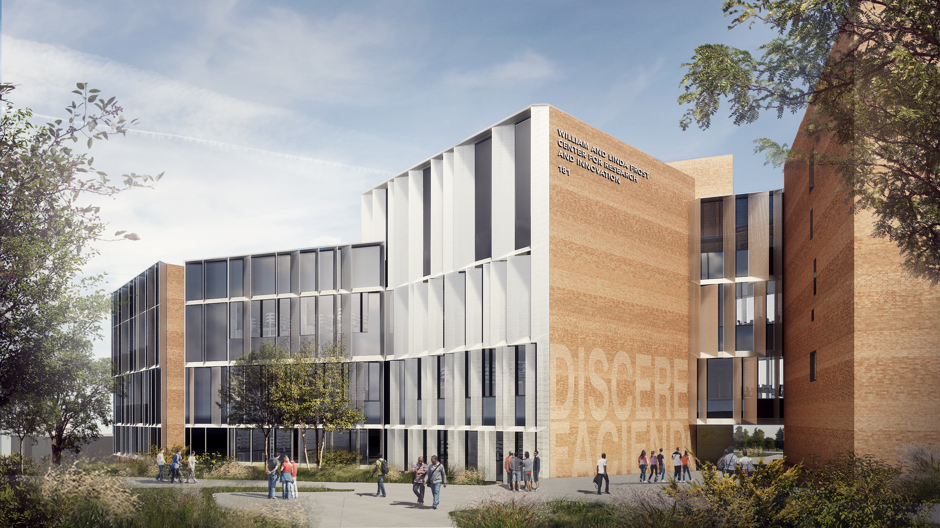 Rendering of the exterior of the William and Linda Frost Center for Research and Innovation