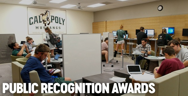 Photo of student-athletes studying and working on computers and phones inside an athletics facility. Photo courtesy Cal Poly Athletics