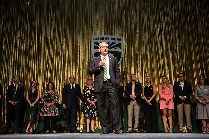 President Armstrong speaks during the Evening of Green and Gold May 3, 2019