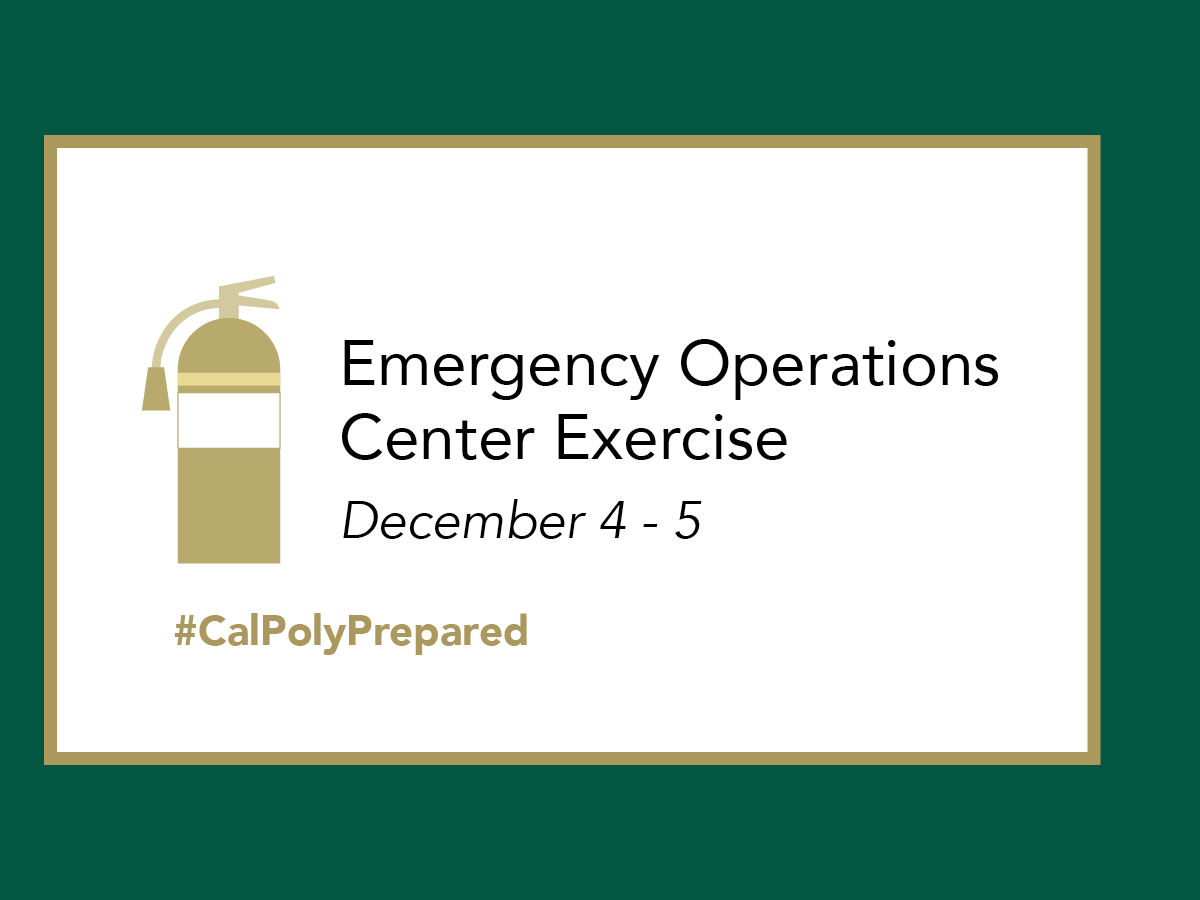 Graphic reading Emergency Operations Center Exercise December 4-5