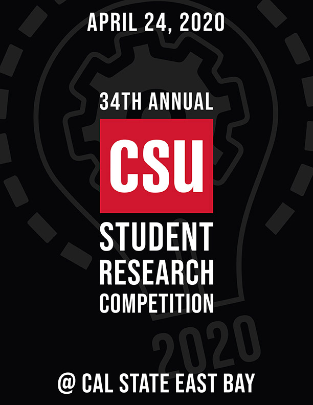 Graphic reading April 24, 2020 34th annual CSU Student Research Competition