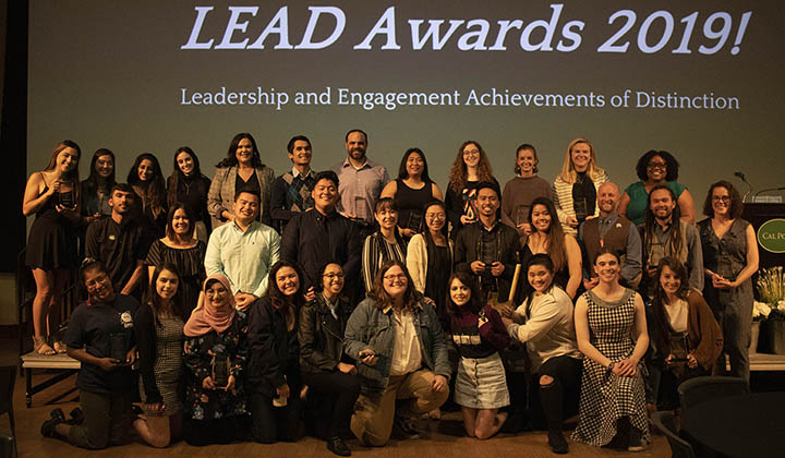 Students, faculty and staff are pictured during the 2019 Leadership and Engagement Achievements of Distinction (LEAD) Awards