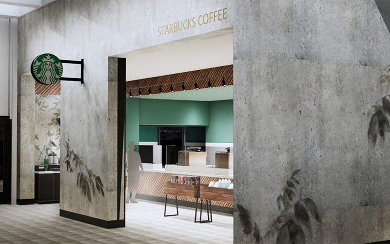 Rendering of the renovated Starbucks coffee shop