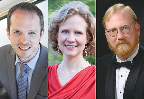From left to right, Cal Poly Choral Director Scott Glysson, music Professor Meredieth Brammeier, and Paul Woodring