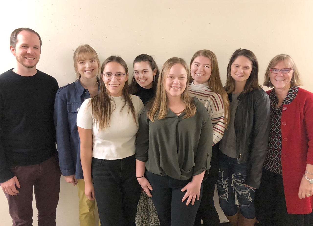 From left to right, Scott Glysson, director of choral activities, students Jenna Hansen, Mady Frei, Zahra Rothschild, Sheridan Liaw, Erin Ichimura and Michaela Donofrio, and music Professor India D'Avignon.