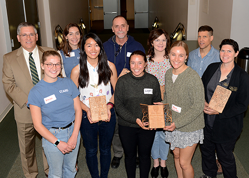Award recipients for the Sustainability Awards are pictured with President Armstrong.