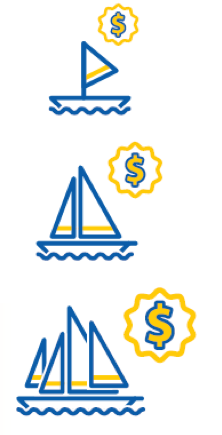 Illustration of three boats with dollar signs.