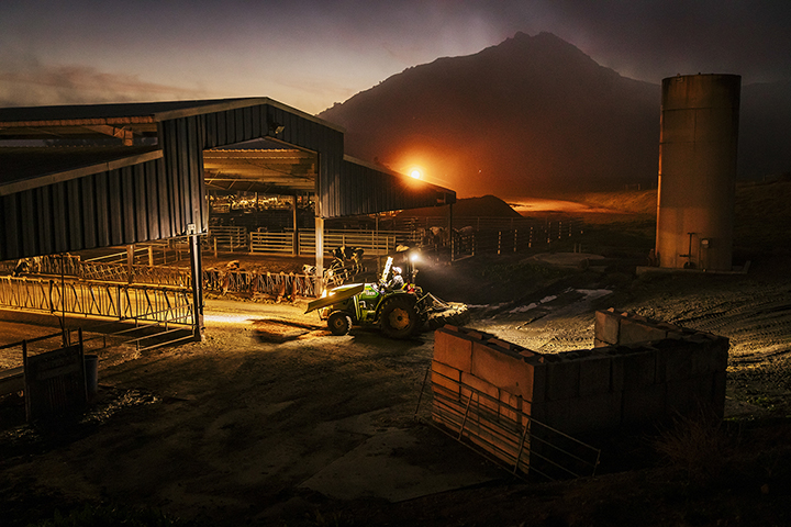 Photo of the Cal Poly Dairy at dusk by Cal Poly photographer Joe Johnston